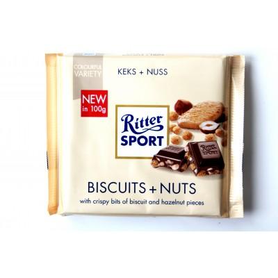 Шоколад Ritter Sport бисквиты и орехи 100g