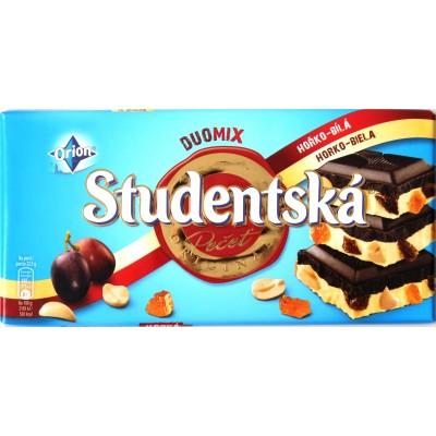 Шоколад Studentska Duomix Чёрный с Белым Изюм/Орех 180g