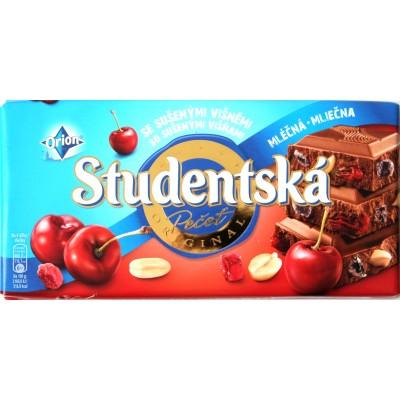 Шоколад Studentska Молочный Вишня 180g