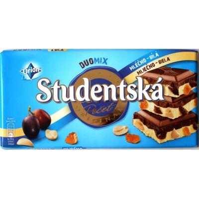 Шоколад Studentska Duomix Молочный с Белым Изюм/Орех 180g